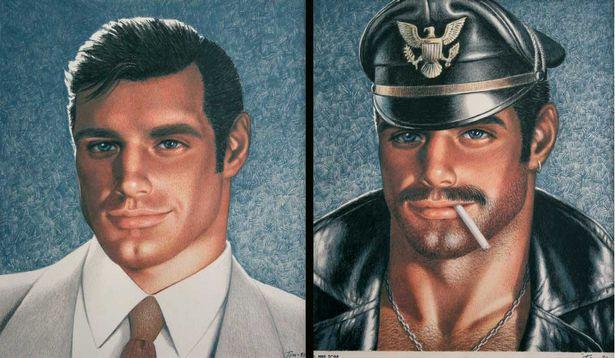 representação típica nos desenhos de Tom é dupla personalidade: o homem socialmente ajustado e o homem fetiche couro-uniforme e dominação